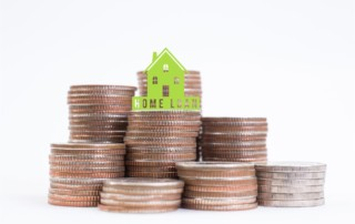home loan icon on stack coins