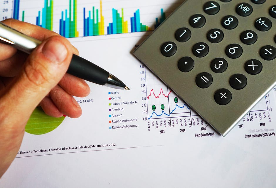 calculator with financial chart and graph report on table